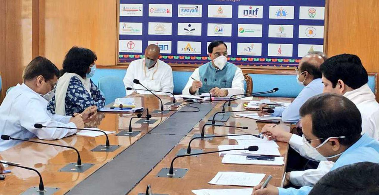 union hrd minister taking meeting under covid19 the edtalk news